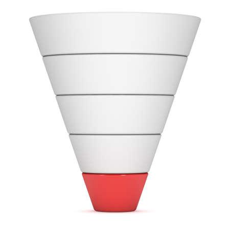 Marketing Funnel Diagram Sales. 3d render isolé sur fond blanc. Entonnoir de conversion Vente Chart. Concept de l'entonnoir et des ventes. Banque d'images - 53526454