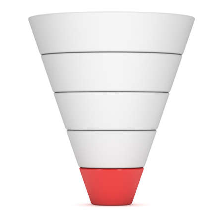 Marketing Funnel Sales Diagram. 3d render isolated on white background. Conversion Funnel Sale Chart. Concept of Funnel and Sales.