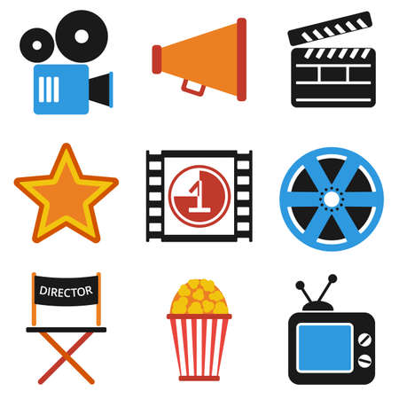 cinematograph: Retro set of cinema vector icons in flat design. Film Projector and film strip with countdown. Director chair and star movies award. Isolated on white