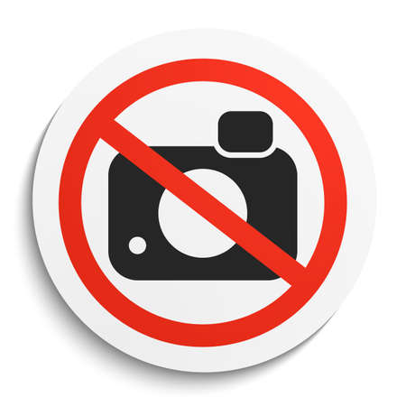 plate camera: No Photos Prohibition Sign on White Round Plate. No Photo Camera forbidden symbol.