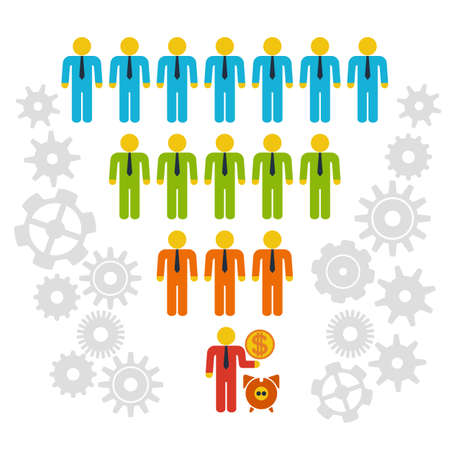 Marketing Funnel Sales Diagram with People and Cogs. Vector isolated on white background. Conversion Funnel Sale Chart. Concept of Funnel and Sales.
