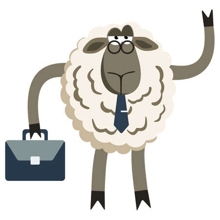 office worker cartoon: Stubborn Lamb Stubborn Lamb Businessman Boss. Sheep character. Vector illustration of stubborn sheep boss isolated on white background