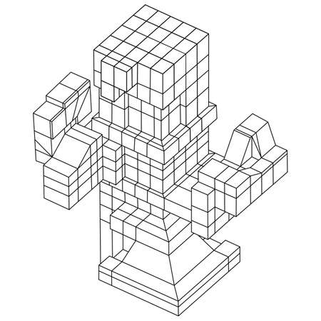 visualization: Wireframe Mesh Cubes element. Connected lines. Connection Wireframe Structure. Digital Data Visualization Concept. Vector Illustration.