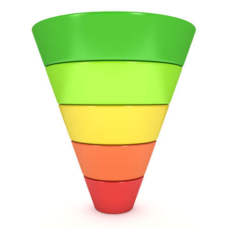 마케팅 판매 다이어그램을 퍼널. 흰색 배경에 고립 된 3D 렌더링합니다. 전환 퍼널 판매 차트. 유입 경로 및 판매의 개념입니다. 스톡 콘텐츠