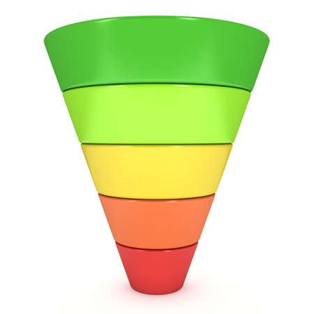 Marketing-Trichter Verkaufsdiagramm. 3d isoliert auf weißem Hintergrund zu machen. Conversion-Trichter Verkauf Chart. Konzept der Trichter und Vertrieb. Lizenzfreie Bilder