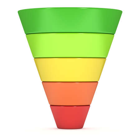 webmarketing: Marketing Funnel Sales Diagram. 3d render isolated on white background. Conversion Funnel Sale Chart. Concept of Funnel and Sales.