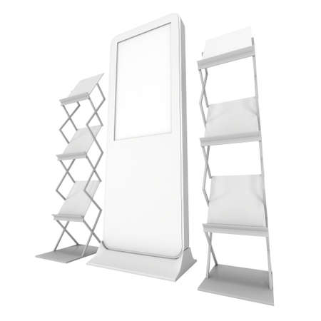 lcd display: LCD Display Stand and Magazine Rack. Blank LCD Trade Show Booth. 3d render isolated on white background. High Resolution LCD. Ad template for your expo design.
