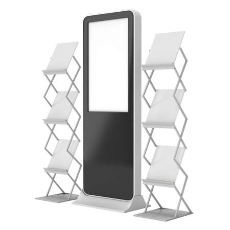 lcd display: LCD Display Stand and Magazine Rack. Black LCD Trade Show Booth. 3d render isolated on white background. High Resolution LCD. Ad template for your expo design. Stock Photo