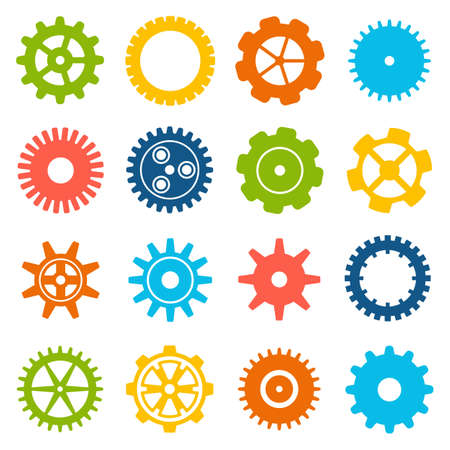 mounting: Gears and cogs icons set. Cog wheel Icon Collection. Vector illustration of cog icons isolated on white background. Illustration