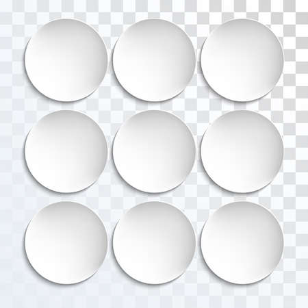 plates of food: Empty white paper plate shapes. Vector round plates Illustration on transparent background. Plates background for your design.