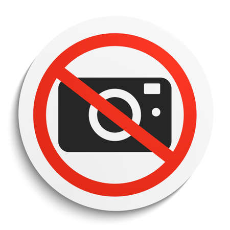 illegal zone: No Photos Prohibition Sign on White Round Plate. No Photo Camera forbidden symbol.  No Photos Vector Illustration on white background Illustration