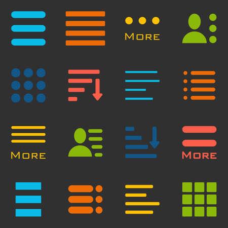 webdesigner: Hamburger Menu Icons Set. Bar Line Hamburger Menu Collection. Vector Illustration of Hamburger Menu Isolated on black background. Illustration