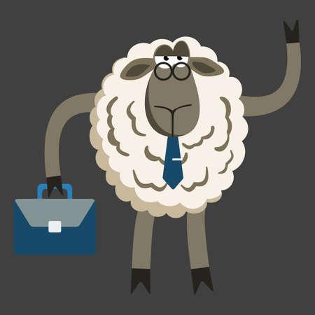 stubborn: Stubborn Lamb Stubborn Lamb Businessman Boss. Sheep character. Vector illustration of stubborn sheep boss isolated on dark background