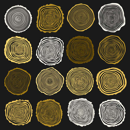 tree rings: Collection of vector tree rings background and saw cut tree trunk. Conceptual graphics. Dark background