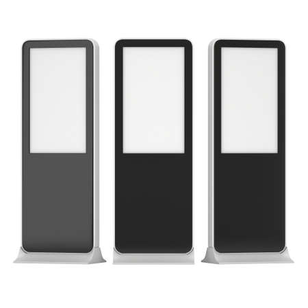 high angles: LCD Kiosk Stands with different angles. Black LCD Kiosk Trade Show Booth. 3d render isolated on white background. High Resolution Kiosk. Ad template for your expo design. Kiosk 3d Design
