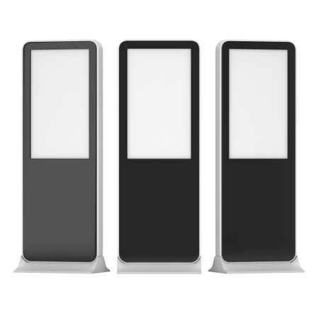 expositor: Soportes LCD Kiosk con diferentes �ngulos. LCD negro Quiosco stand de feria. 3d aislado en el fondo blanco. Quiosco alta resoluci�n. Plantilla de anuncio para su dise�o expo. Quiosco Dise�o 3d
