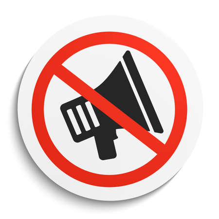 available: Turn Off Sound Prohibition Sign on White Round Plate. No Sound forbidden symbol. No Sound Vector Illustration on white background