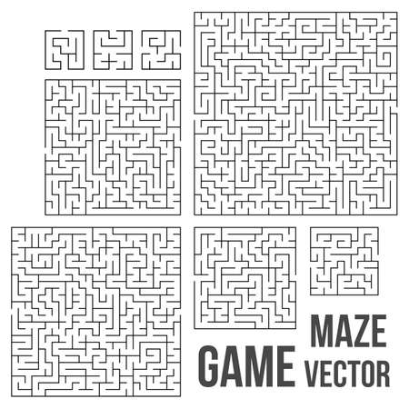 maze game: Maze Game Set. Labyrinth Game with Entry and Exit. Find the Way Out Concept. Transportation. Logistics Abstract Background Concept. Business Path Concept. Vector Illustration.