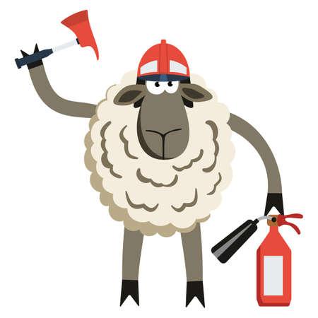 stubborn: Stubborn Lamb Fireman. Sheep professional character. Vector illustration of stubborn fire fighter isolated on white.