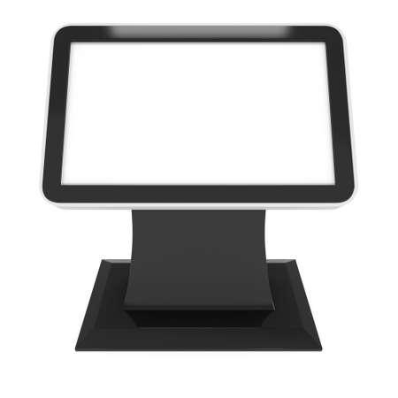 exhibitor: LCD Kiosk Stand. En blanco stand de feria. 3d aislado en el fondo blanco. Alta resolución. Plantilla de anuncio para su diseño expo. Foto de archivo