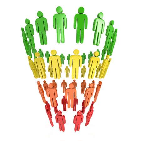 ダイアグラム人と販売マーケティング目標到達プロセス。3 d のレンダリングは、白い背景で隔離。変換じょうごの販売グラフ。目標到達プロセスと