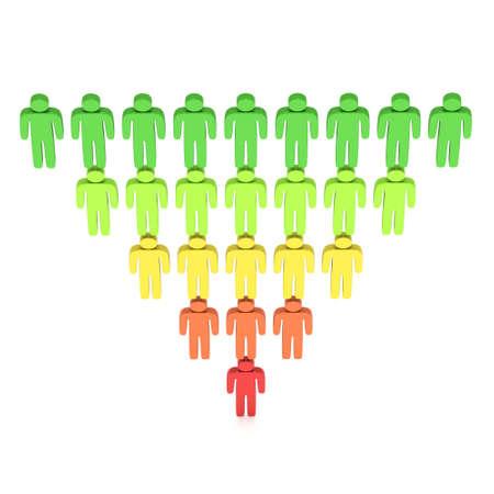 Marketing Sales Funnel Diagram met People. 3d render geïsoleerd op een witte achtergrond. Conversietrechter Sale Chart. Concept van de Trechter en Sales.