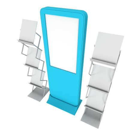 expositor: LCD de exhibici�n del estante y Revista. LCD en blanco stand de feria. 3d aislado en el fondo blanco. Alta resoluci�n LCD. Plantilla de anuncio para su dise�o expo. Foto de archivo