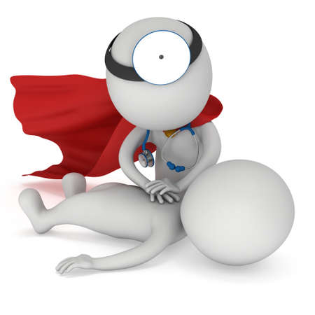 Superhero Doctor doing CPR First Aid. 3d CPR training concept on white background. CPR illustration
