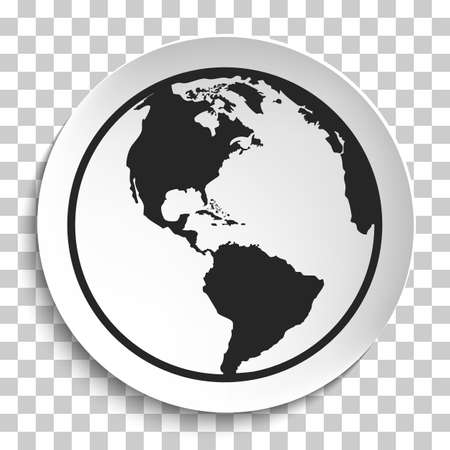 Earth Globe Icon on White Plate. Earth on Plate Vector Illustration. Black Earth with America View, Travel and Transportation Concept on transparent background.