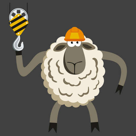 constraction: Stubborn Lamb Builder. Sheep professional character. Vector illustration of stubborn constraction worker.