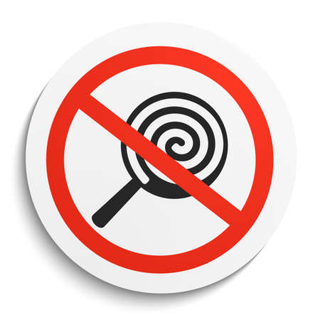 Keine Süßigkeiten und Bonbons Verbotszeichen auf weiße runde Platte. Keine Süßigkeiten verboten Symbol. Keine Süßigkeiten Vektor-Illustration auf weißem Hintergrund Illustration