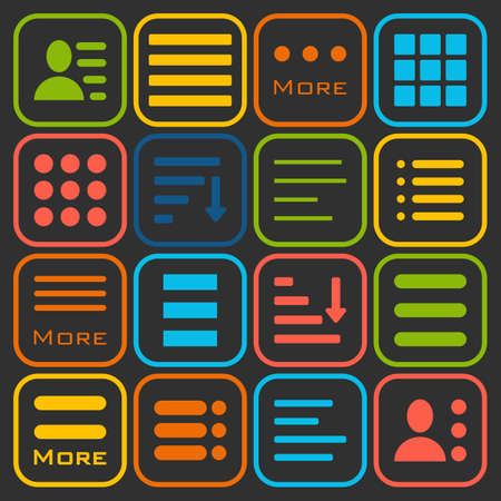 bar line: Hamburger Menu Icons Set. Bar Line Hamburger Menu Collection. Vector Illustration of Hamburger Menu Isolated on black background. Illustration
