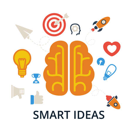 iq: Smart, ideas. Brain, creation and idea icons and elements. Vector illustrations of icons isolated on white.