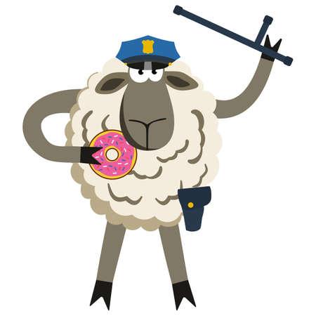 Stubborn Lamb Policeman avec Donut. Moutons de caractère professionnel. Vector illustration de la police obstinés isolé sur blanc.