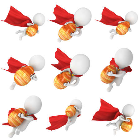super man: Brave superhero with red cloak delivery Easter Egg. Isolated on white 3d man. Easter holiday and super power delivery concept Stock Photo