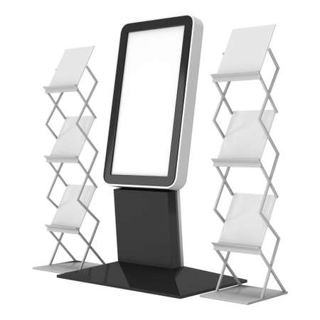 expositor: LCD Display Stand and Magazine Rack. Blank LCD Trade Show Booth. 3d render isolated on white background. High Resolution LCD. Ad template for your expo design.