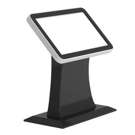 exhibidor: LCD Kiosk Stand. En blanco stand de feria. 3d aislado en el fondo blanco. Alta resoluci�n. Plantilla de anuncio para su dise�o expo. Foto de archivo