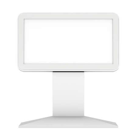 LCD TV가 스탠드. 빈 무역 전시회 부스. 흰색 배경에 고립의 LCD TV의 3D 렌더링합니다. 당신의 엑스포 디자인에 고해상도 광고 템플릿.