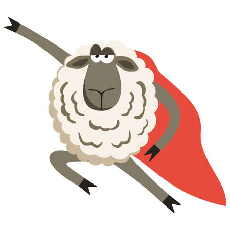 Stubborn Lamb superhero with red cloak.