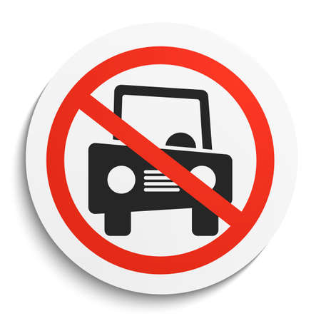 car plate: No Car Prohibition Sign on White Round Plate. No vehicle forbidden symbol.  No cars Vector Illustration on white background Illustration