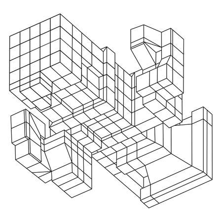 wire mesh: Wire frame Mesh Cubes element. Illustration
