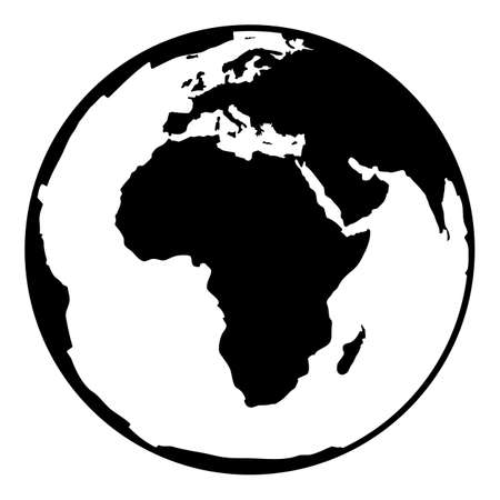 equator: Globe earth vector icon. Earth planet globe web and mobile icon. Contour black symbol of earth planet in africa view. Black and white vector illustration.