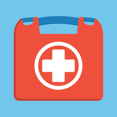 medications: First aid kit box flat object. Medicine chest with cross and medical equipment. Medications for emergency. Healthcare flat vector illustration Illustration