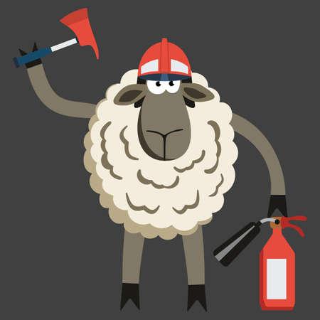 stubborn: Stubborn Lamb Fireman. Sheep professional character. Vector illustration of stubborn fire fighter isolated on dark. Illustration