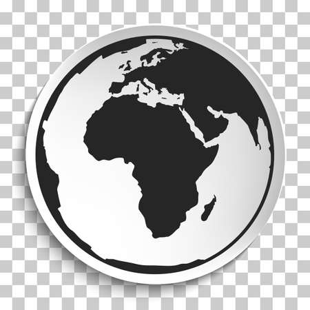 white plate: Earth Globe Icon on White Plate.