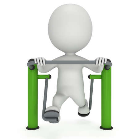 machine man: Active 3D man exercising on outdoor fitness trainer machine.