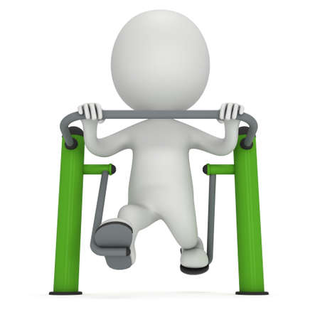 outdoor exercise: Active 3D man exercising on outdoor fitness trainer machine. Fit sporty man working out at outdoor gym. Sport fitness and healthy lifestyle concept. 3D render isolated on white.