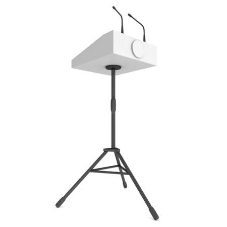 rostrum: 3d Speaker Podium on Tripod. White Tribune Rostrum Stand with Microphones. 3d render isolated on white background. Debate, press conference concept