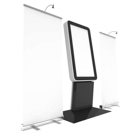 lcd screen: LCD Screen Floor Stand with Roll-Up. Blank Trade Show Booth. 3d render of lcd screen isolated on white background. High Resolution Floor Stand. Ad template for your expo design. Stock Photo