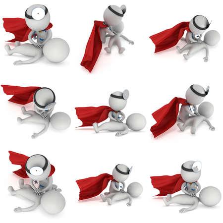 슈퍼 히어로 의사 심폐 소생 구급 응급 처치 세트를 하 고. 흰색 배경에 3d 심폐 소생술 교육 개념입니다. 심폐 소생술 일러스트